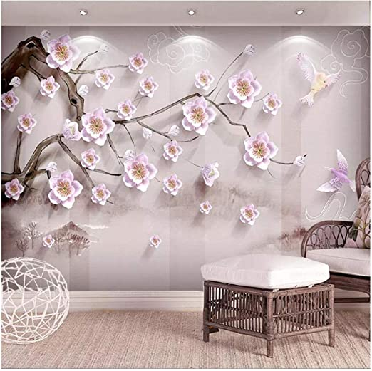 Amazon Com Xbwy Custom Mural Wallpaper 3d Stereo Relief Plum Blossom Photo Wall Painting Living Room Tv Sofa Background Wall Home Decor 120x100cm Kitchen Dining