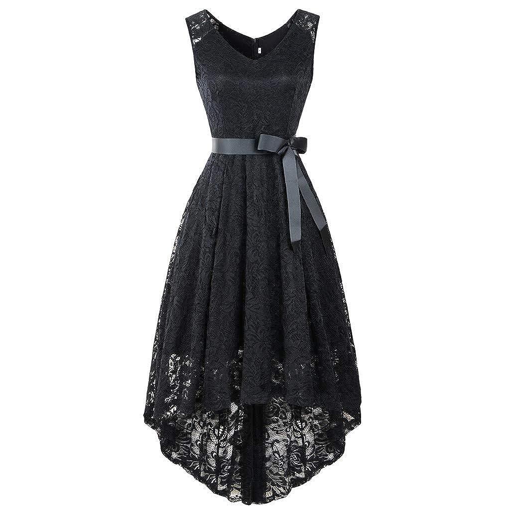 CixNy Damen Kleider Röcke Islamischen Arabisch Sommerkleider Strandkleid Sommer Ball Party V-Ausschnitt Ärmellose Spitze Abendmode Tüllkleid