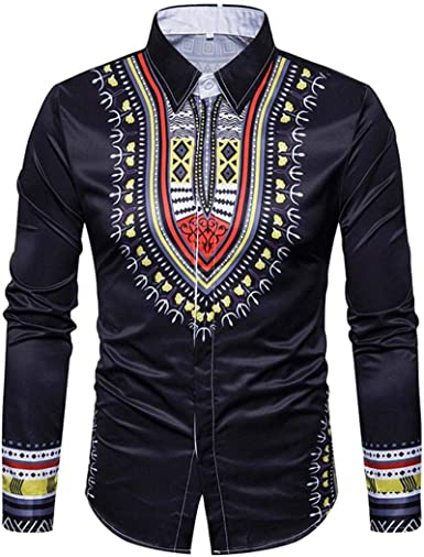 Yvelands Camisa de impresión Africana Manera Casual Jersey de impresión de Manga Larga Camiseta Top Blusa Camisas Vestido de Fiesta Vestido de Fiesta