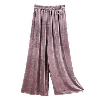 YouPue Femmes Jambe Large Pantalon en Velours Elastiqué Taille Haute Pantalons de Plissé Décontracté