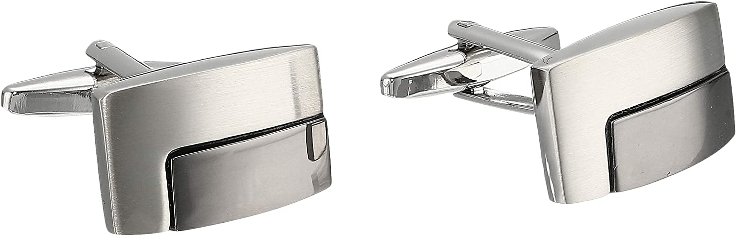 Stacy Adams Men's Rectangle Cuff Link with Gunmetal Inlay