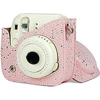Estuche protector y portátil Adecuado para la cámara Instax mini 8/8 +/9, estuche para cámara portátil de cuero PU de color rosa brillante vintage con gancho de textura metálica y orificio preciso, co