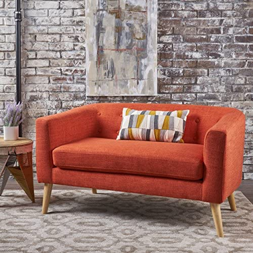 Althea Button Back Mid Century Fabric Modern Loveseat Muted Orange