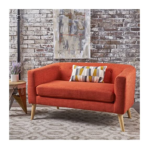 "Bron Yr AUR Button Back Mid Century Fabric Modern Loveseat (Muted Orange) - This loveseat is a great addition for any room in your home, not only just the living room. Featuring a mid-century design with modern angles, this loveseat is both comfortable and stylish. Enjoy it in your home today. Includes: One (1) Loveseat Dimensions: 29.50""D x 51.50""W x 28.25""H - sofas-couches, living-room-furniture, living-room - 619Ml5iPhWL. SS570  -"