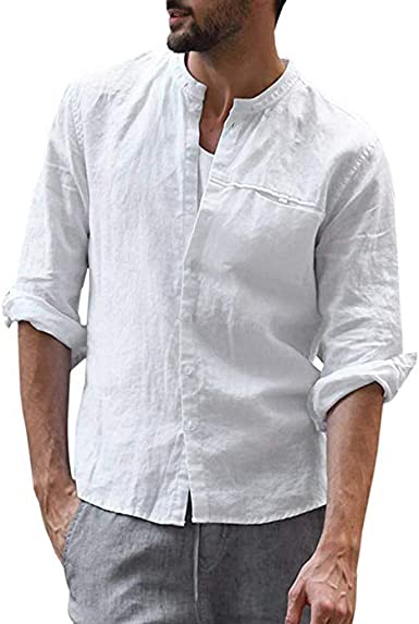 Camiseta para Hombre Memefood Botón Holgado de Lino Media ...