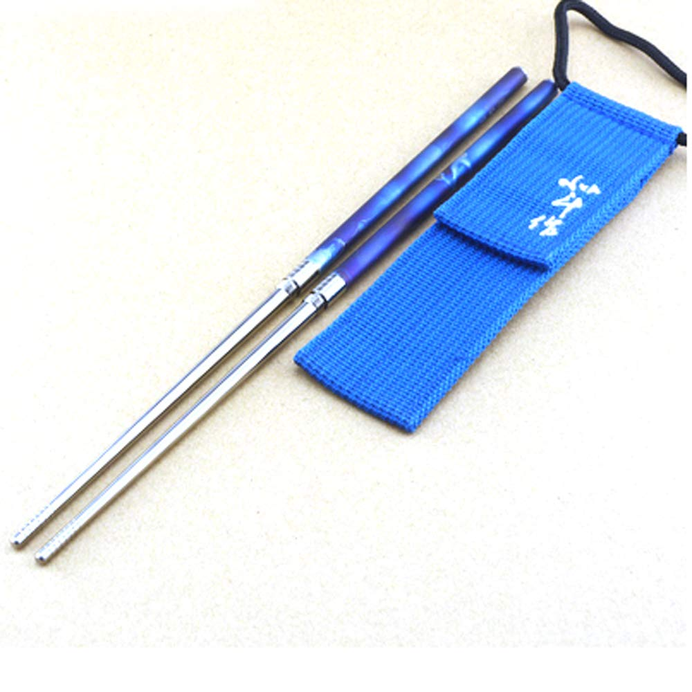 TITANER Titanium Chopsticks Foldable Chopsticks Outdoor Portable Tableware Environmentally Friendly And Non-toxic (Starry blue)