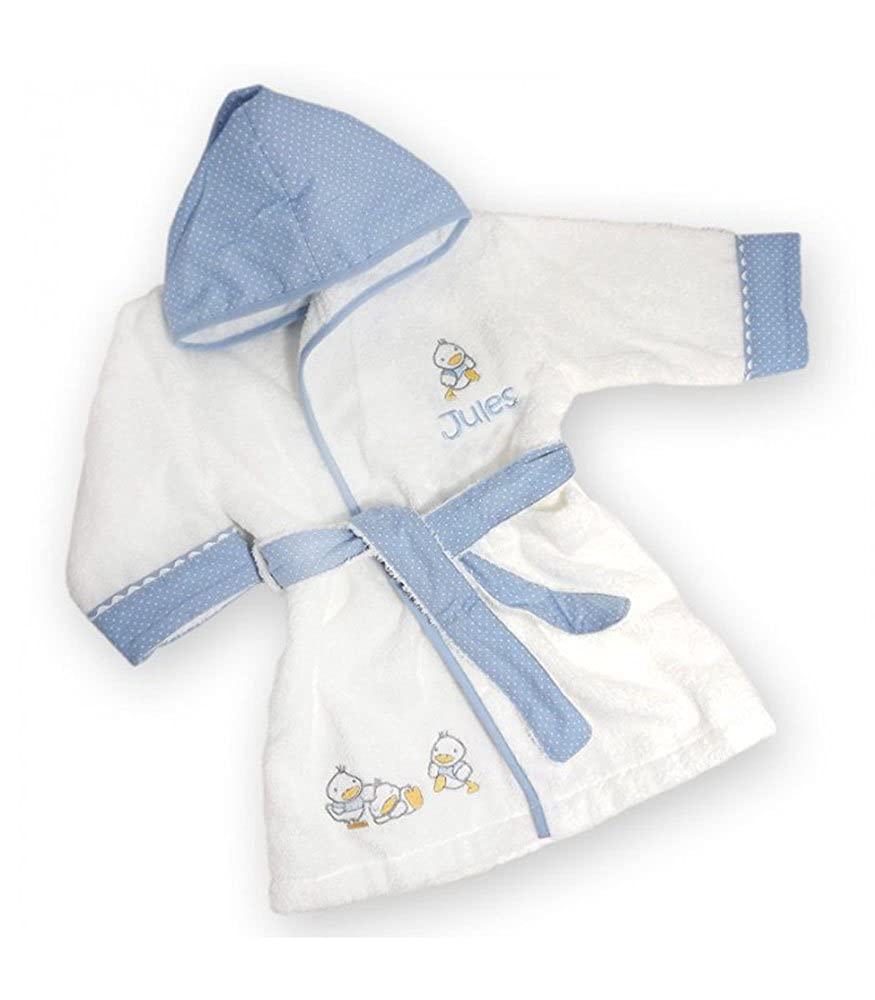 Peignoir bébé canards personnalisé avec le prénom de l'enfant ciel)