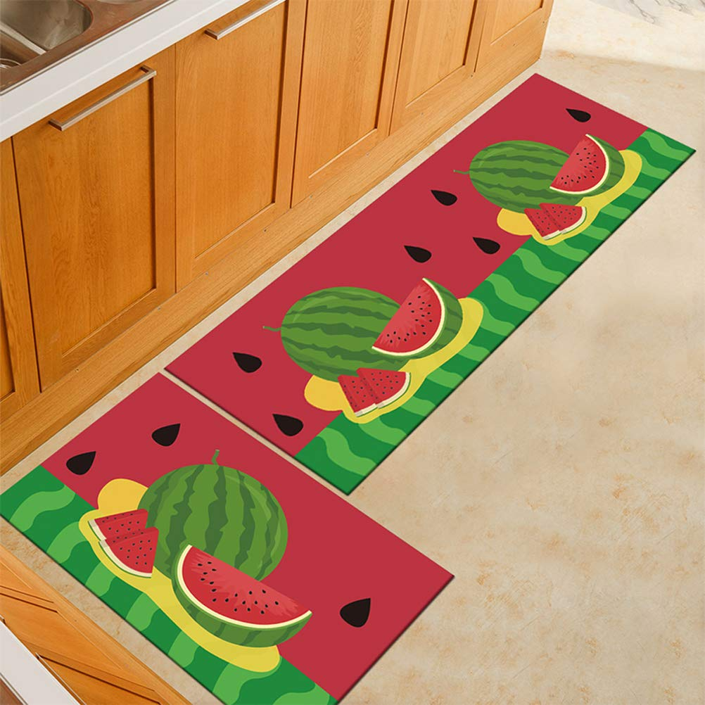 WSHINE 2 PCS Non-Slip Watermelon Kitchen Carpet Floor Runner Rug Kitchen Mats Extrance Doormat Window Room Mat
