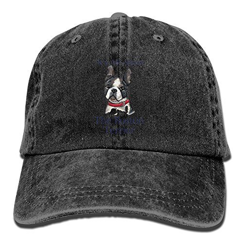 Buecoutes It's All About The Boston Terrier Premium Cowboy Baseball Caps Trucker Hats Black
