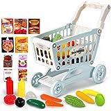 [CAIXINGYI] おままごとセット 4輪ショッピングカート きれる野菜 果物 肉 二人遊ぶセット おもちゃ おかいも セット 手押し車 子供向け 知的発達 食品部品 かわいい (ブルー)
