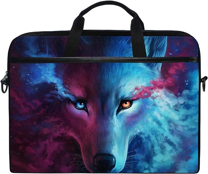 JOYPRINT Laptop Sleeve Case, Galaxy Animal Wolf 14-14.5 inch Briefcase Messenger Notebook Computer Bag with Shoulder Strap Handle for Men Women Boy Girls