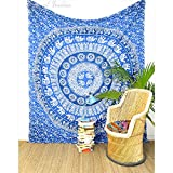 Eyes of India Large Queen Blue Ombre Mandala Elephant Tapestry Bedspread Beach Boho Bohemian Indian