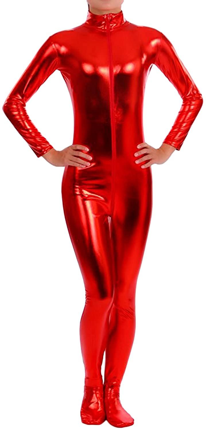 Seeksmile Unisex Shiny Metallic Catsuit Dancewear Skin-tight Zentai Bodysuit
