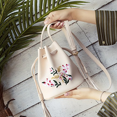 Gtvernh Handbags Shoulder Bags Black Satchel Women Personality Bags Bags Beige Bucket Summer Embroidered Fringed wrYHT