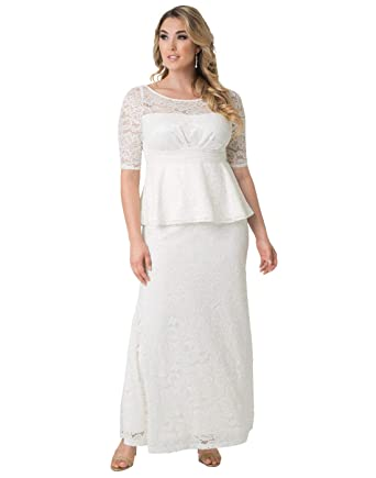 9432831ffd6 Kiyonna Women s Plus Size Poised Peplum Wedding Gown at Amazon ...