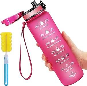 Favofit Sport waterfles van 1 liter, 32 oz met motivationele