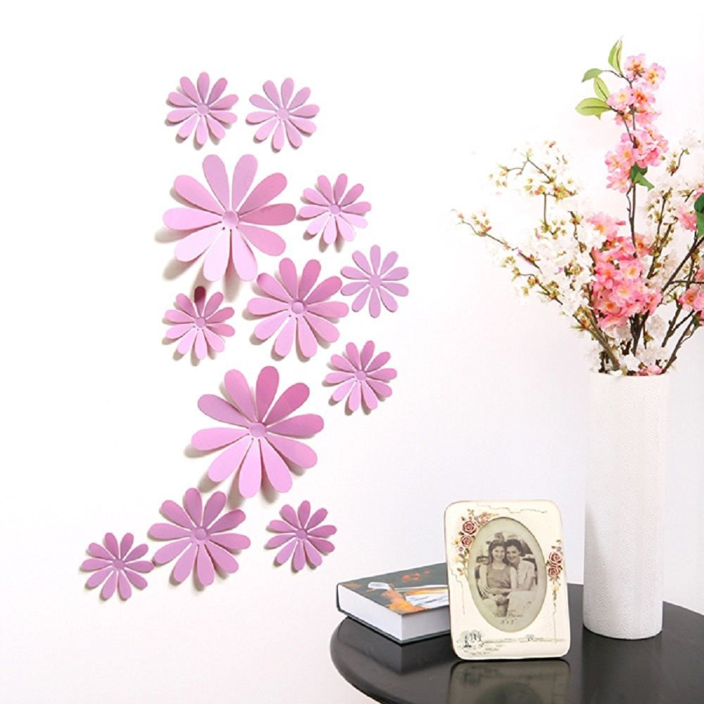 Amaonm/® 24 PCS Cute 3D DIY Flowers Wall Decals Removale Home art Decor Flowers Wall Stickers Murals for Kids Girls room Bedroom Weeding party Birthday Shop Windows Decorations Mirror Silver