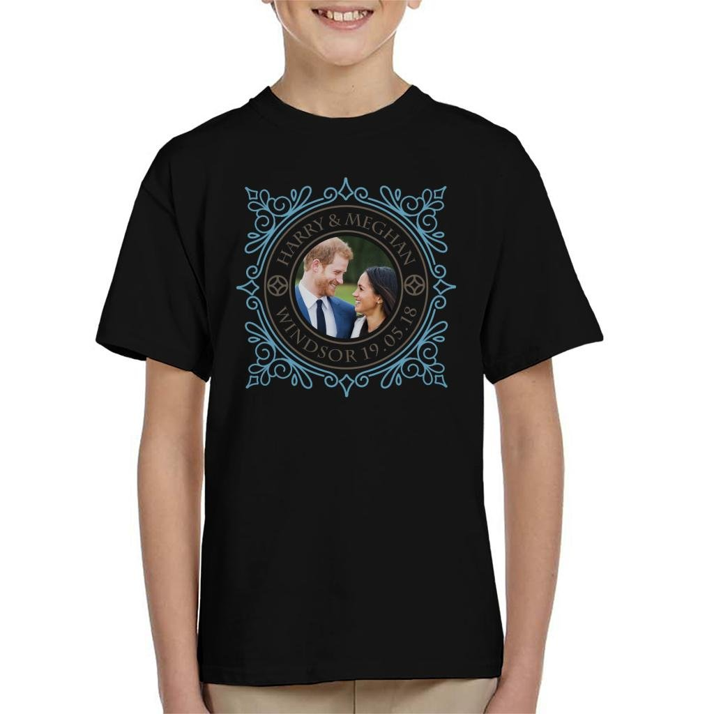 Coto7 Blue Frame Harry and Meghan Royal Wedding Kid's T-Shirt