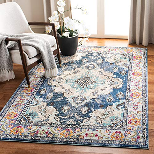 Safavieh MNC243N-3SQ Monaco Collection Square Area Rug, 3', Navy/Light Blue (Square Kitchen Rug)