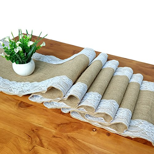 Heopapin Burlap Lace Hessian Table Runner Tablecltoh TableRunner Premium Quality Runner Party Supplies for Rustic Natural Jute Country Wedding Birthday Baby Shower (12
