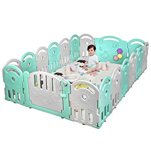 Costzon Baby Playpen, 18-Panel Kids Safety Yard Activity Center Playard with Safety Lock & Educational Toys, Portable Play Yards with Music Box & Basketball Hoop, Indoor Outdoor Use (Green, 18-Panel)