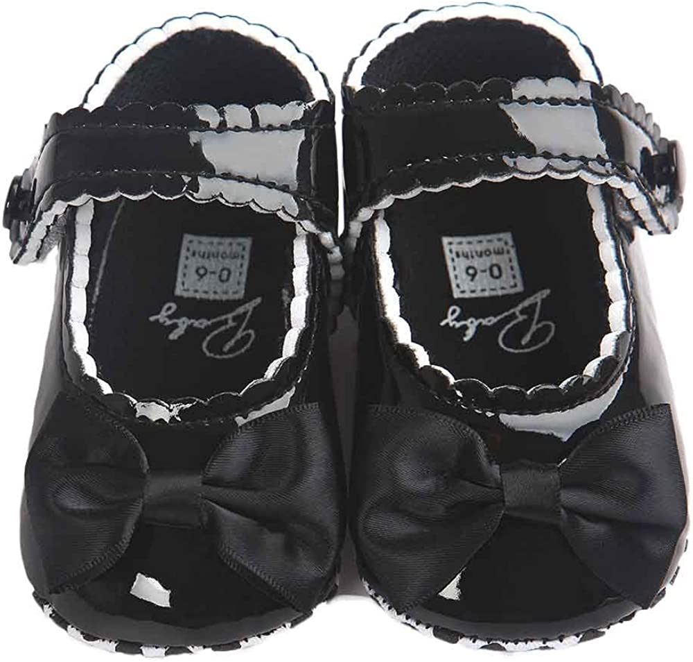 Baby Girl Bowknot Leater Shoes Sneaker Anti-Slip Soft Sole Toddlerr Mary Jane
