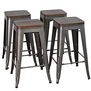 Amazoncom Dekea 30 Inch Bar Stools With Wooden Top Counter Height