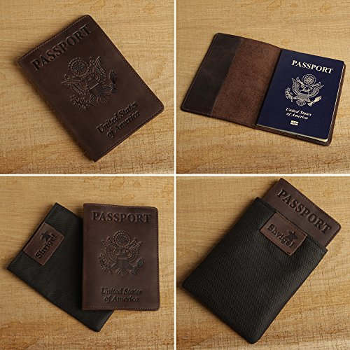 Shvigel Leather Passport Cover Passport Case for Men /& Women Holder