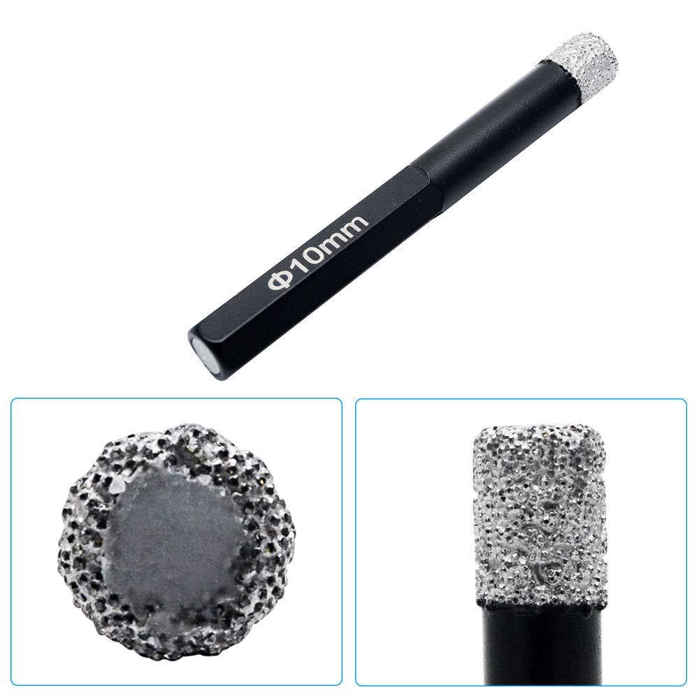 Cortador de agujeros de diamante 6 /– 14 mm, fresado, corte seco, punta de diamante, perforador, sierra perforadora para porcelana, cristal y cer/ámica negro MASO