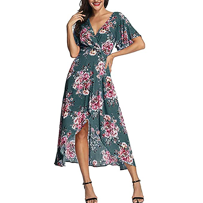 38ef046e0db Women s Wrap V Neck Short Sleeve Floral Split Flowy Beach Casual Long Maxi  Dress (Blue
