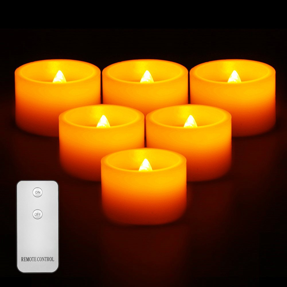 Amazon.com: Flameless Candles Flickering LED Tea Lights - Battery Operated  Candles | Real Wax Pillar CandlesIvory ColorVotive Candles Realistic LED  ...