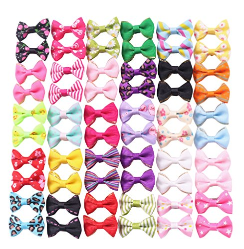 YAKA 60PCS (30 Pairs) Cute Puppy Dog Small Bowknot Hair Bows with Clips,Handmade Hair Accessories Bow Pet Grooming Products (60 Pcs,Cute Patterns)