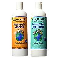 Earthbath Dog Cat Vanilla & Almond Grooming Bundle - (1) Each: Oatmeal & Aloe Shampoo and Conditioner, 16 ounces