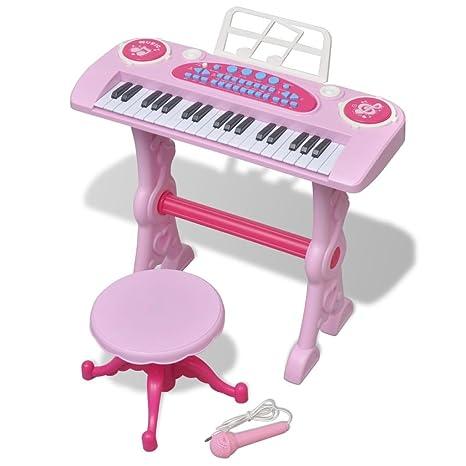 vidaXL Piano de Juguete para Niños de 37 Teclas con Taburete y Micrófono Rosa