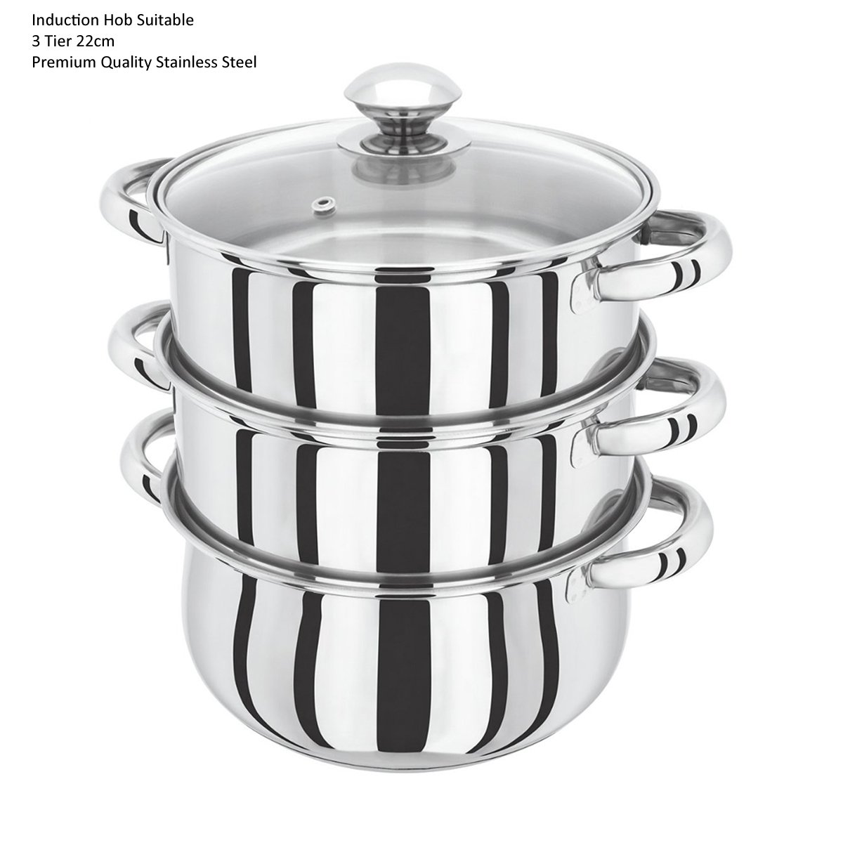 22CM 3 Tier Stainless Steel Induction Hob Steamer With Glass Lid Cookware Pot & Pan Set Denny International