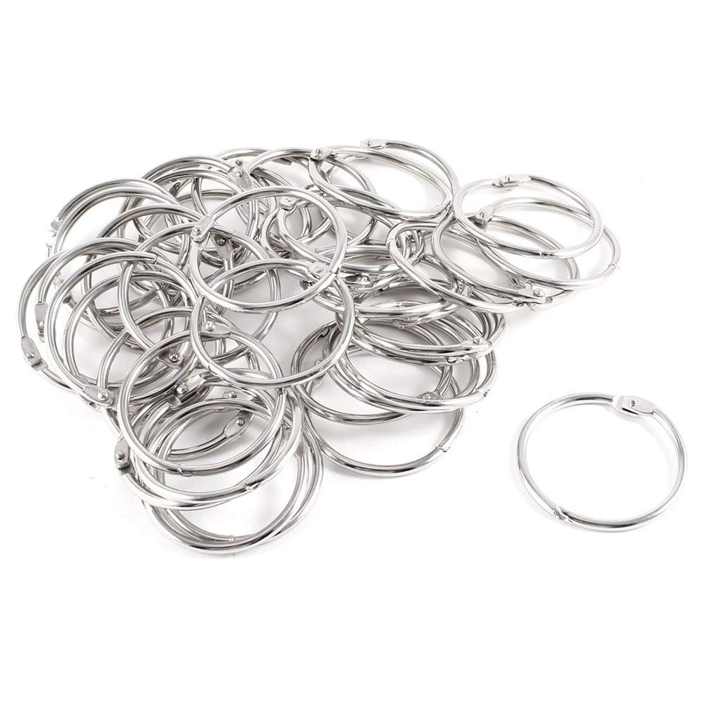 Leo-4Beauty - 40 Pcs Staple Book Binder 45mm Outer Diameter Loose Leaf Ring Keychain