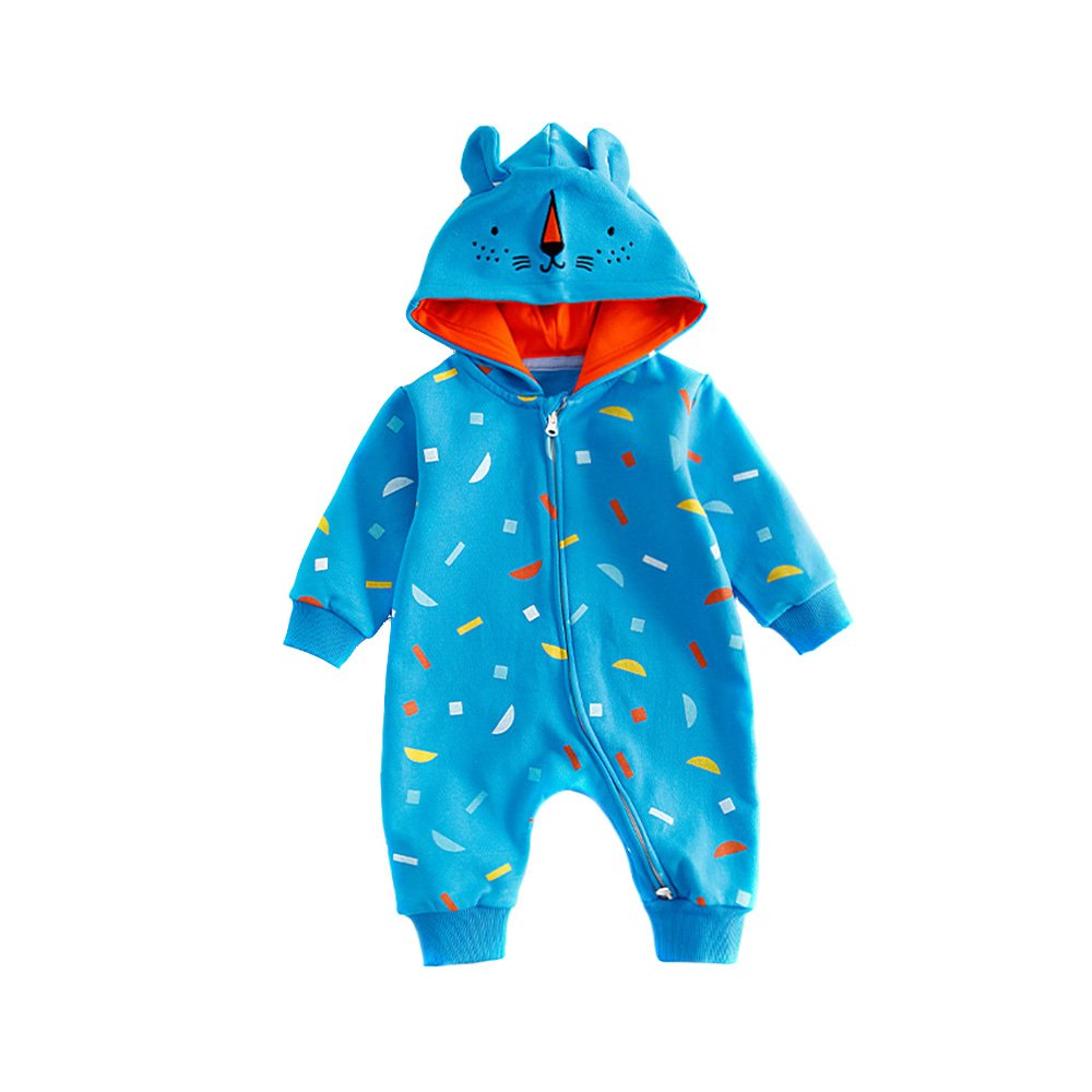 TRIEtree Baby Cute Cartoon Conjoined Clothes Baby Hooded Long Sleeve Clothes Children Two Way Zipper Crawling Clothing size 66cm (blue capped bear)