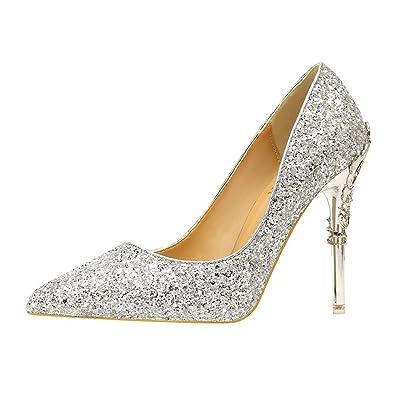 Huoduoduo Women s Closed Toe Heels High Heel Women s Shoes with Metal and  Thin 73a2f87ea9ba