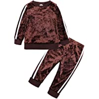 Mary ye 2Pcs Fashion Toddler Baby Girl Velvet Sweatshirt Tops Pant Set Tracksuit
