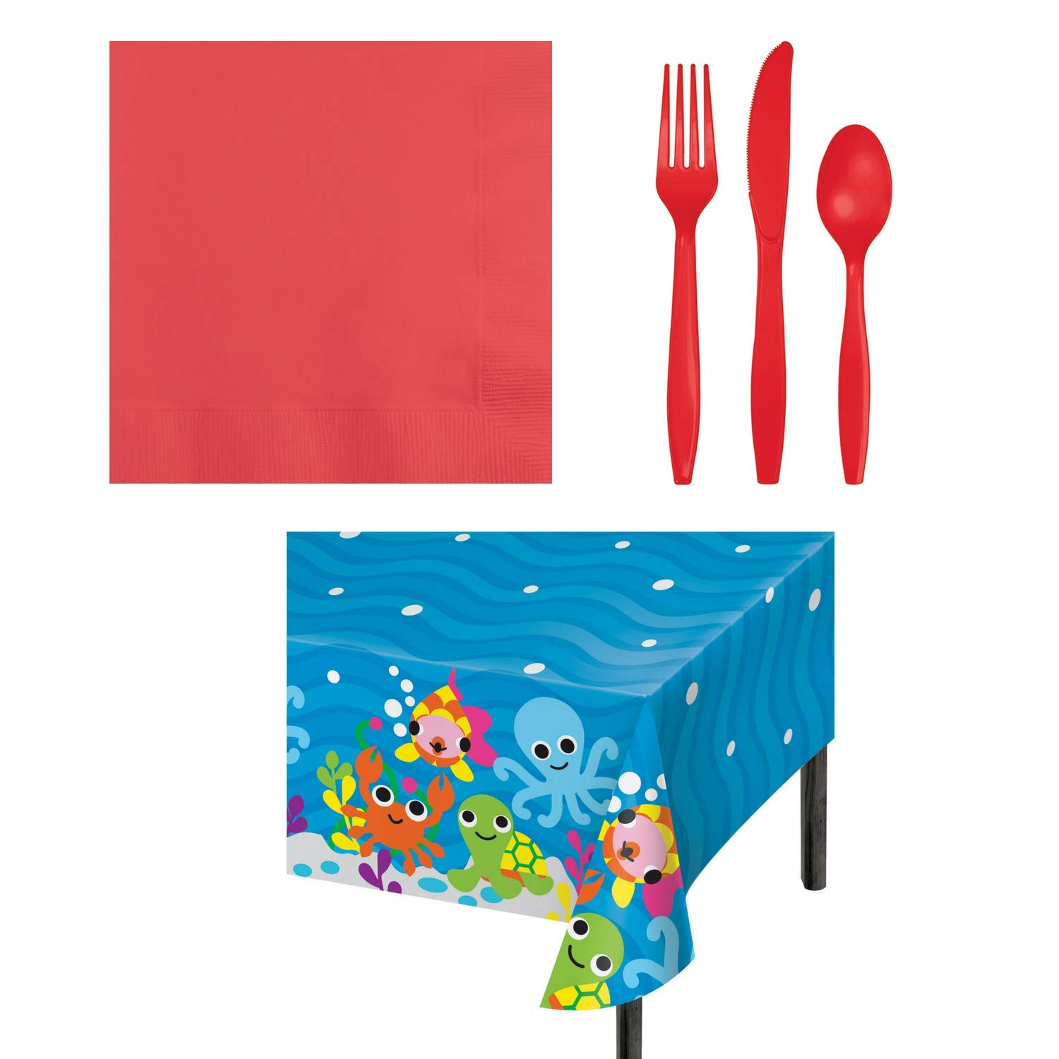 Ocean Themed Party Supply Bundle for 16 Guests- 50 Coral Napkins, 48 Assorted Coral Disposable Silverware Cutlery, 1 Ocean Print Plastic Tablecloth