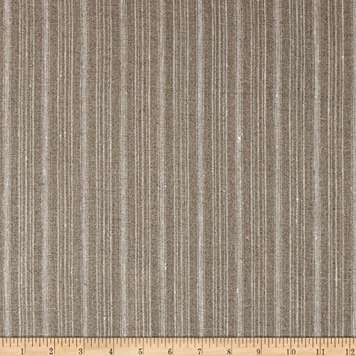 - 100% European Linen Striped Natural Fabric by The Yard