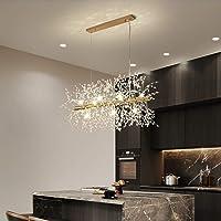 ZRABCD Lamp Pendant Light Chandelier Ceiling Light Rectangle Firework Led Industrial Iron Crystal Pendant Ing Adjustable…
