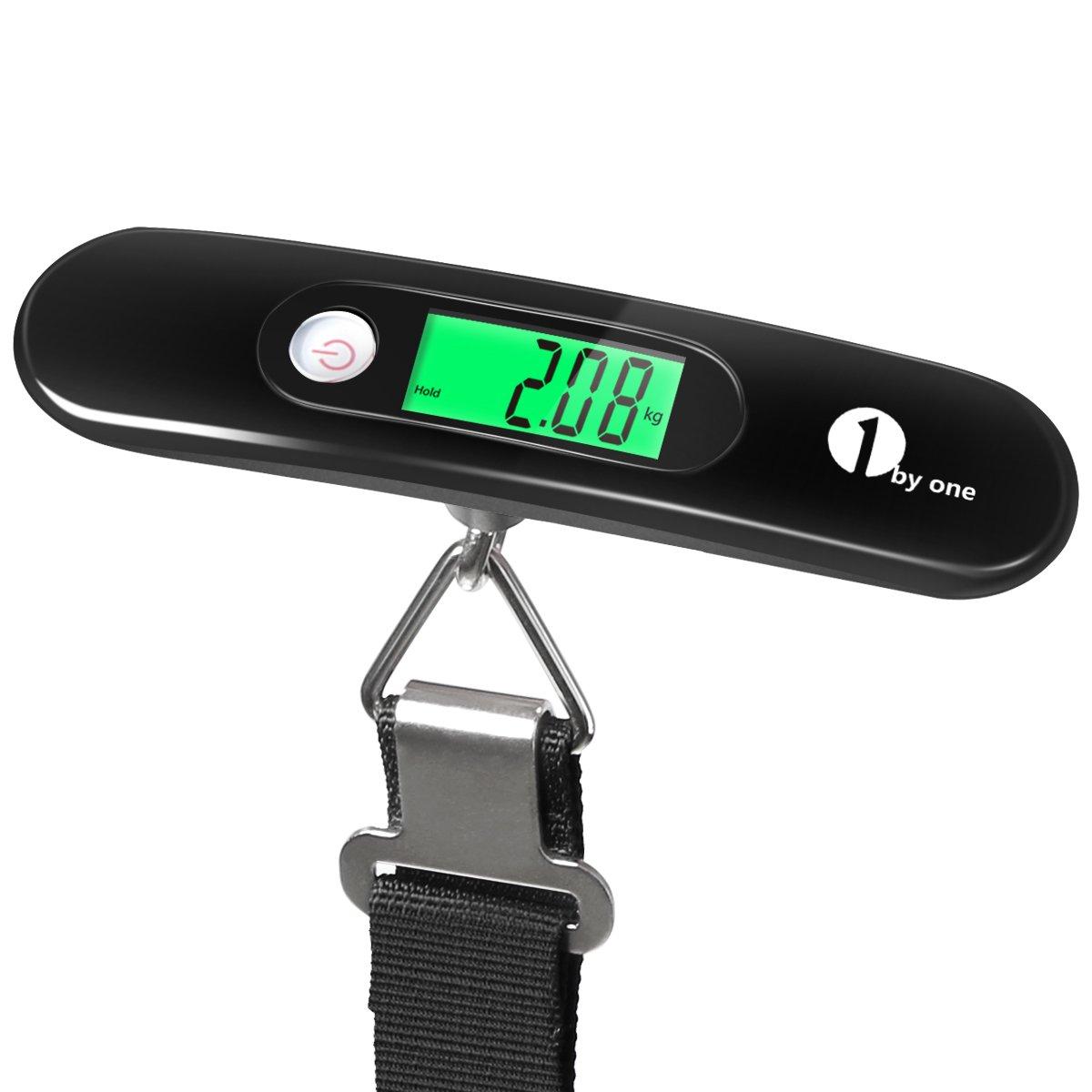 1byone báscula digital colgante para maletas con pantalla LCD con luz de fondo, apagado automático y función de tara, capacidad 50kg, negra: Amazon.es: ...