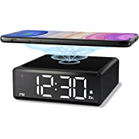 NOKLEAD Digital Alarm Clock with Qi Wireless Charger - Clear LED Display with 4 Brightness 12/24H Snooze for Bedroom…
