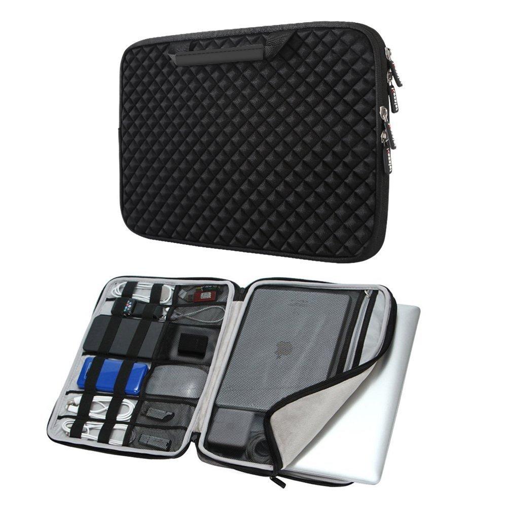 iCozzier 15-15.6 Inch Diamond Foam Handle Laptop Sleeve Shock Resistant ElectronicsAccessories Storage/Stylish Travel Organizer for Laptop/Ultrabook/ Notebook/Netbook/ MacBook - Black