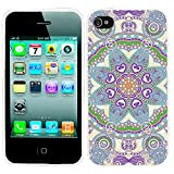 iPhone 4s Case,iphone4s case,iphone 4 case,ChiChiC full Protective unique Stylish Case slim flexible durable Soft TPU Cases Cover for iPhone 4 4g 4s,purple blue teal Henna Mandala Datura Floral flower