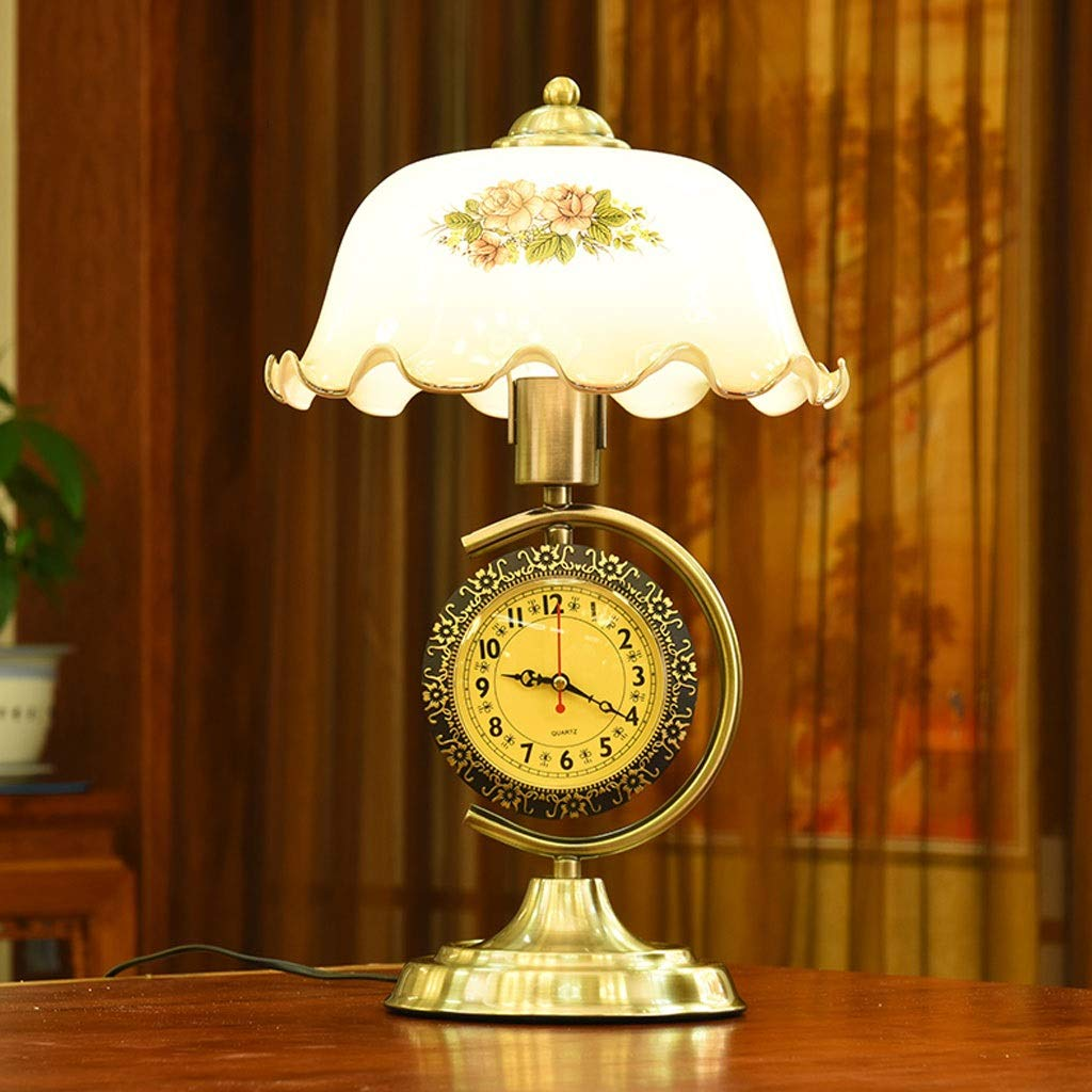 Weiyue Table lamp- Table Lamp Retro Bedroom Bedside Table Lamp American Warm with Clock and Table Study Table Lamp Creative, 44x27cm (Color : B, Size : 44x27cm)