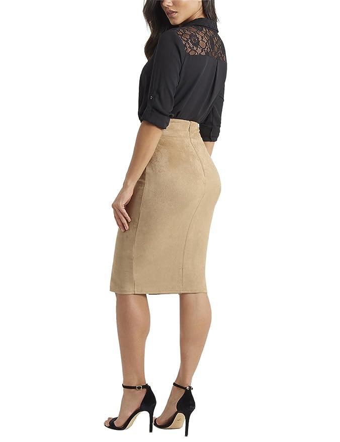 ed1932297 Lipsy Mujer Falda de tubo de antelina color tostado Marrón EU 40 (UK ...