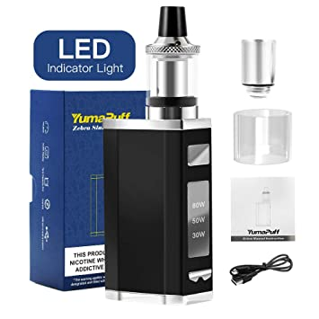 cigarrillos electrónicos, YumaPuff Zebra 80W kit de cigarrillos de vapor electrónico, mod recargable de