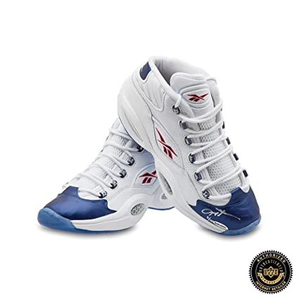 b3117622ebc6 Allen Iverson Autographed Signed Reebok Question Mid Shoes with Blue Toe -  76ers